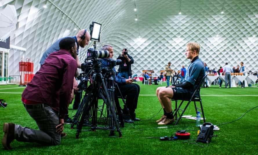 Ajax's Kasper Dolberg speaks to the media in the buildup to the Europa League final.
