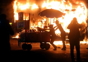 A bus on fire during protests in Rio de Janeiro