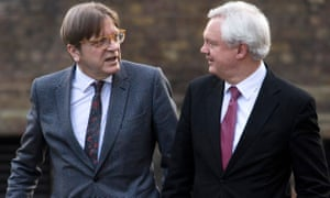 "'The EU fear is that Britain will have its cake and eat it."" David Davis mets Guy Verhofstadt in Downing Street on 6 March."