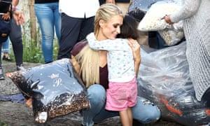 Paris Hilton gives out fragrances, pillows and hugs in San Gregorio, Mexico