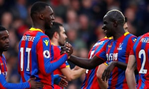 Mamadou Sakho congratulates Christian Benteke after the Belgian scored his first goal at Selhurst Park in a year.