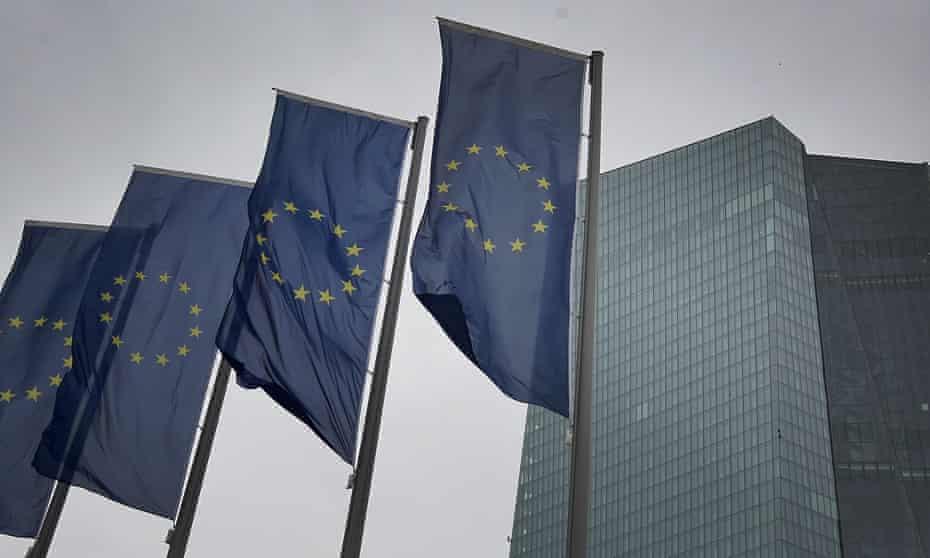 EU flags outside the European Central Bank in Frankfurt