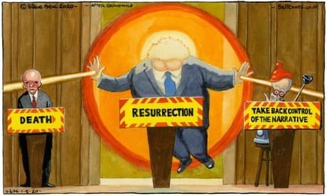 Steve Bell on Boris Johnson's return to giving the daily press conference – cartoon