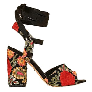 high heeled embroidered pattern sandals, black red, green yellow