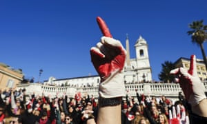 'The position of women in Italy has undergone a sudden transformation' … a demonstration in Rome for the One Billion Rising movement pressing for an end to violence towards women.