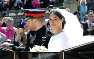 Prince Harry, Duke of Sussex and his wife Meghan, Duchess of Sussex in the Ascot Landau carriage