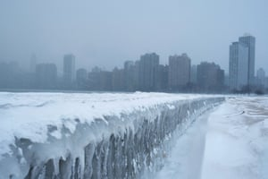 Icicles form on the walkway at North Avenue Beach by Lake Michigan in Chicago.