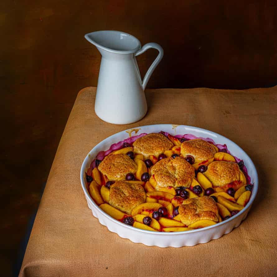 Peach and blueberry cobbler.