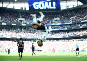 Tottenham's Lucas Moura celebrates after scoring his team's third goal on his way to a hat-trick to beat Huddersfield 4-0 at the Tottenham Hotspur Stadium.