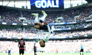 Lucas Moura celebrates his second goal in spectacular fashion