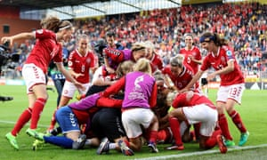 Denmark Women celebrate reaching the final of Euro 2017, after beating Austria in the semi-final