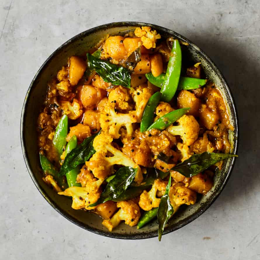 Chetna Makan's cauliflower and sugar snap pea curry.