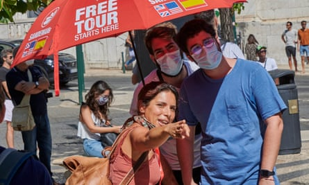 Tourists in Lisbon, Portugal, which was removed from the quarantine list earlier in the summer.