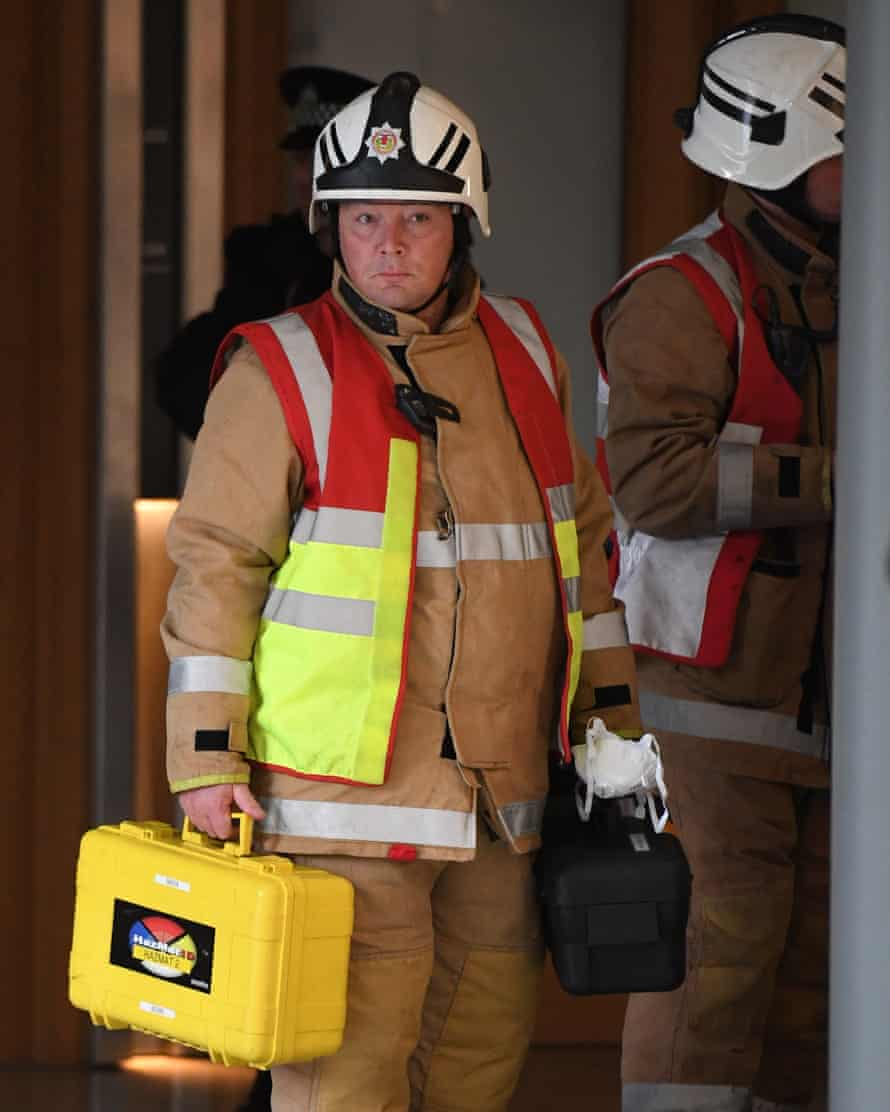 Fire and rescue services arrive at the Scottish parliament.