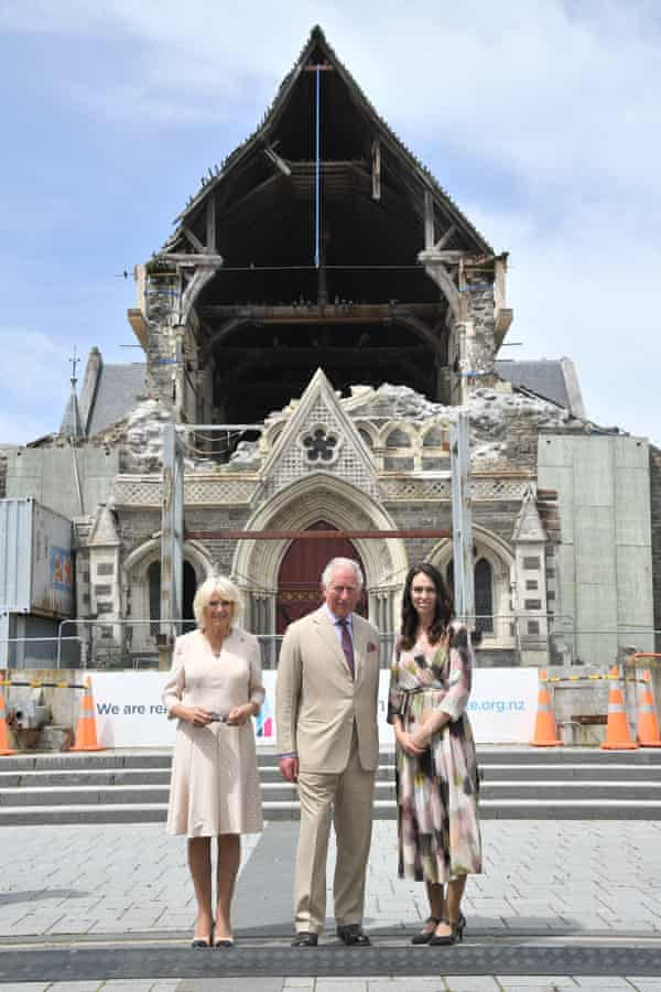 Prince Charles and Camilla Duchess of Cornwall visite Christchurch cathedral with the prime minister, Jacinda Ardern, on 22 November 2019