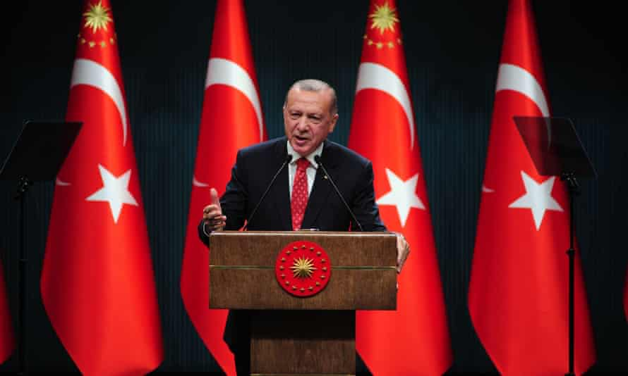 Recep Tayyip Erdoğan speaks at a press conference in Ankara about tensions with Greece on 10 August.