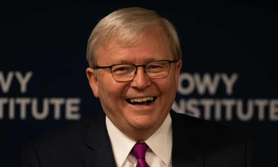 Former Australian prime minister Kevin Rudd speaks during a Q&A session at the Lowy Institute in Sydney on Thursday. Rudd discussed China and the new era of strategic competition with the US.