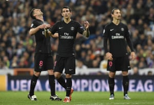 Disbelief is etched on the faces of PSG's Thiago Motta, left, Angel Di Maria and Zlatan Ibrahimovic.