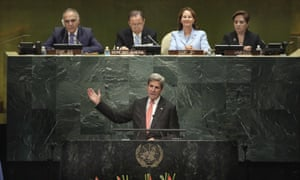 US secretary of state John Kerry speaking at the UN general assembly in New York, 21 September