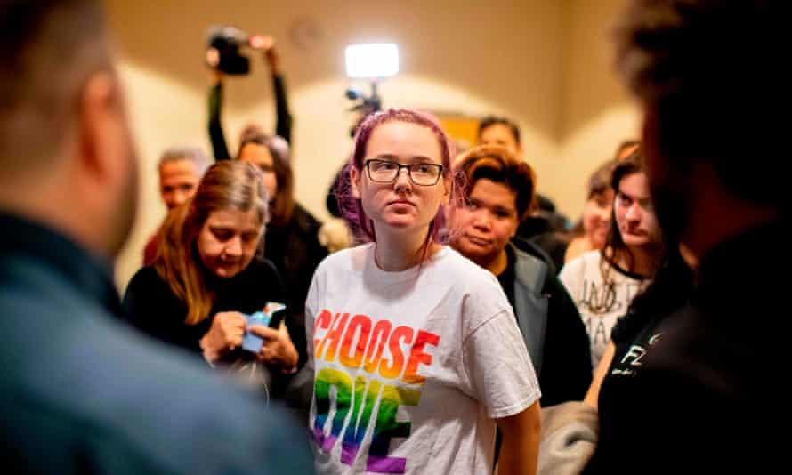 Swedish activist Elin Ersson at the district court in Gothenburg, Sweden.