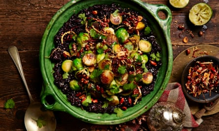 Black miso sticky rice with peanuts and brussels sprouts.
