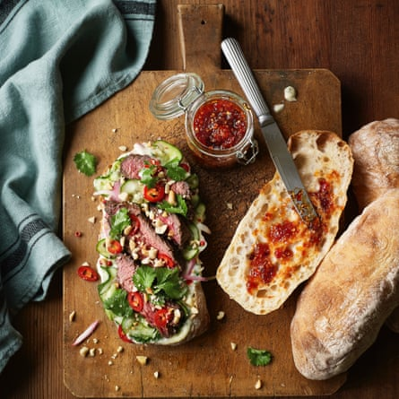 Kiwi & Roo's 'lucky beef' steak sandwich by Lara Lee and Fiona Hannah.