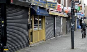 Closed shops in South Harrow, London.
