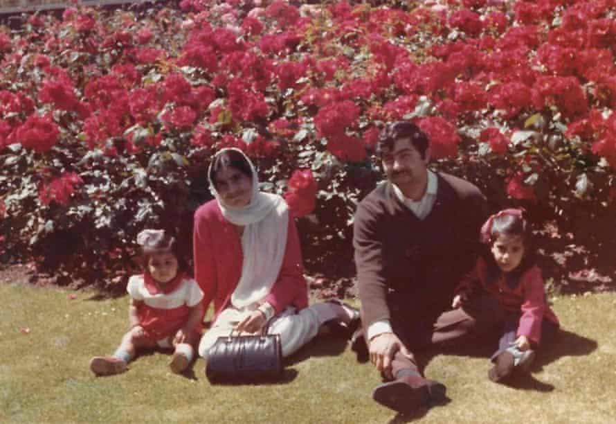 Sayeeda Warsi, left, with her parents and elder sister Fara in Maidstone, Kent.