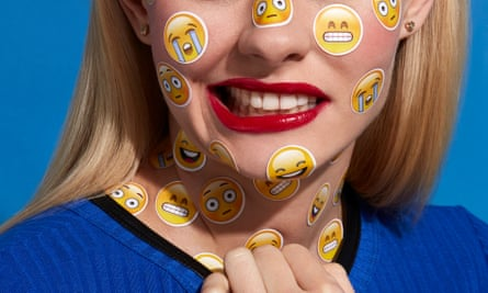 woman with stickers all over her face