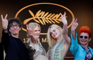 Writer Neil Gaiman, with cast members Nicole Kidman and Elle Fanning, and costume designer Sandy Powell, right