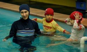 Australian Muslim swimming instructor Fadila Chafic in a Sydney pool