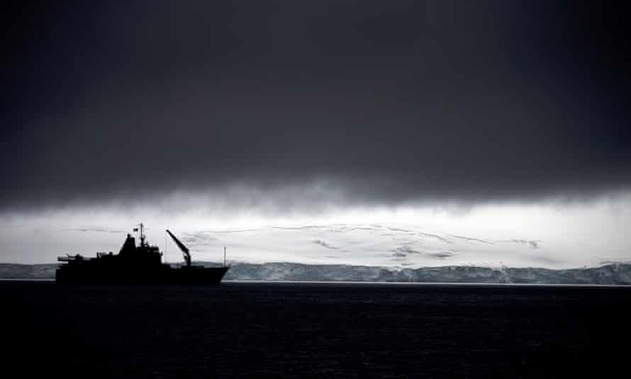 Chile's Navy ship Aquiles, seen from Livingston Islands, in Antarctica. This is also the place where there is a hole in the ozone layer.