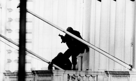 Iranian Embassy Siege two members of the SAS prepared to storm the building to free the remaining 19 hostages , May 1980.