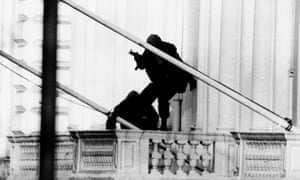 Two members of the SAS outside the Iranian embassy during the 1980 hostage siege in London.
