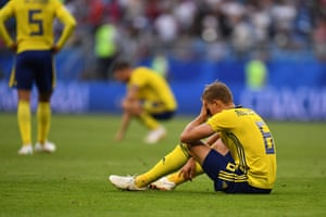 Ludwig Augustinsson of Sweden is crestfallen.