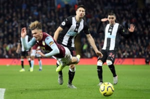 Jack Grealish goes down theatrically after going past Federico Fernandez.