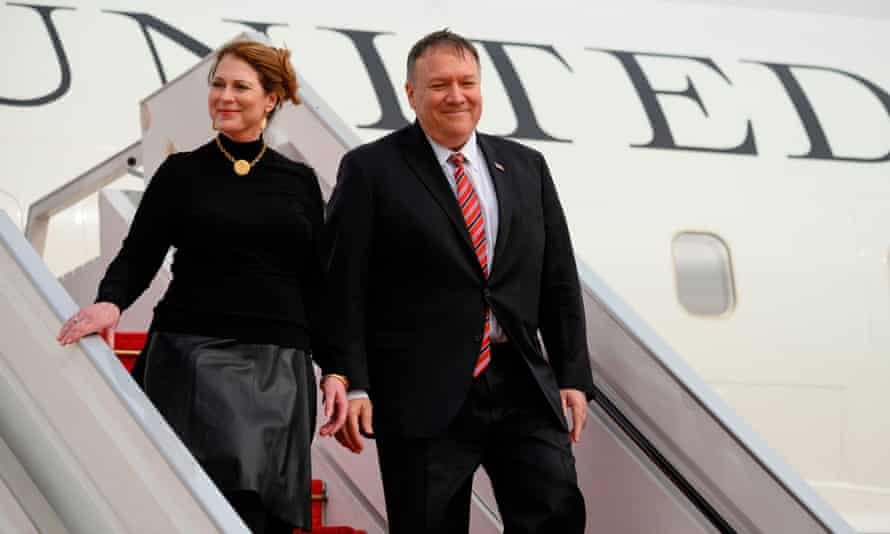 Mike Pompeo and his wife Susan Pompeo arrive in Senegal in February.