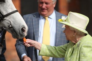 Ditcheat, EnglandQueen Elizabeth II feeds carrots to racehorse Politologue at the Manor Farm Stables in Ditcheat, Somerset