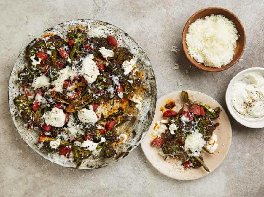 Yotam Ottolenghi's purple sprouting broccoli with chorizo, manchego and caraway seed creme fraiche.