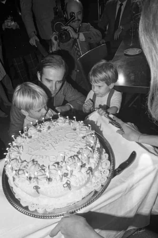 Hunter (right) and brother Beau with their father on his 30th birthday, November 1972.