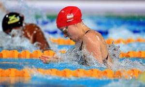 England's Sarah Vasey on her way to winning gold in the Women's 50m Butterfly Final.