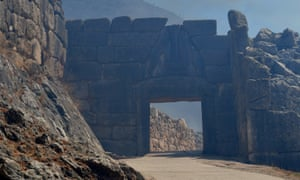 Smoke covered the Lion's Gate in the archaeological site of Mycenae.