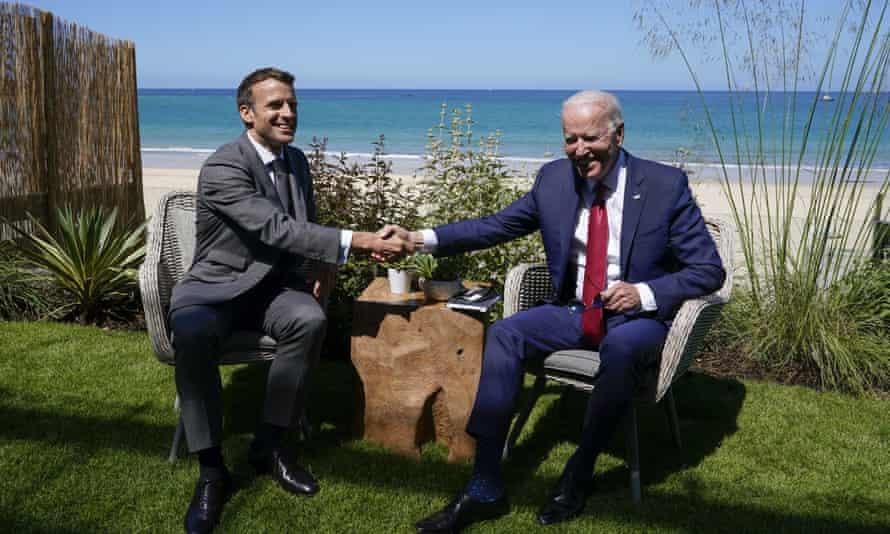 Joe Biden with Emmanuel Macron at the G7 meeting in Carbis Bay, England, 12 June.