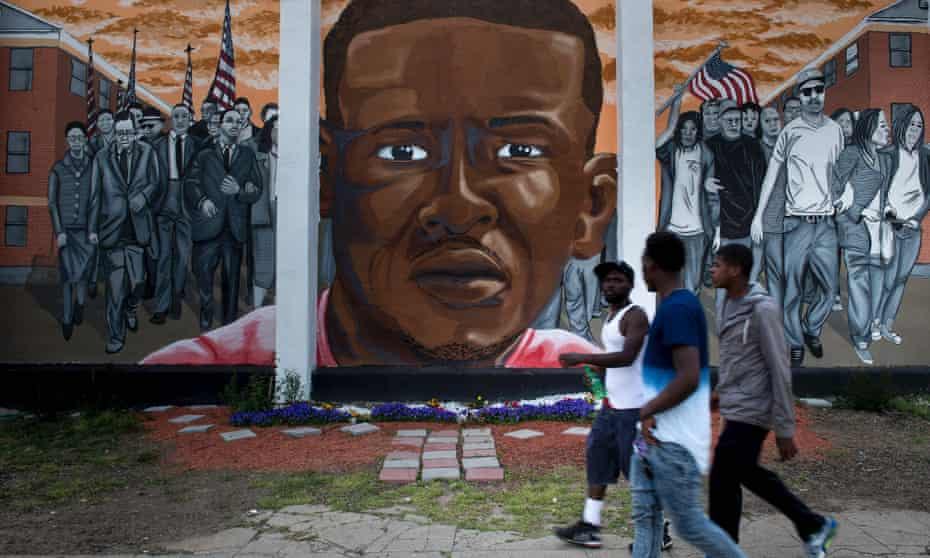 A mural of Freddie Gray. Prosecutors argue not only was Gray's arrest illegal, but that any physical contact that Nero had with Gray constituted assault.