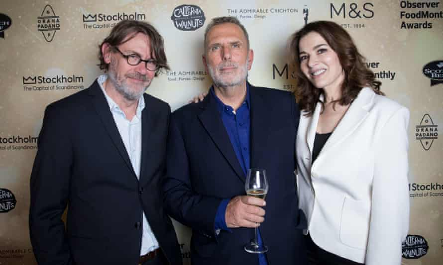 Nigel Slater, OFM editor Allan Jenkins and Nigella Lawson at the Observer Food Monthly Awards 2017, held at the Freemasons Hall in central London, 12 October 2017.