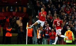 Manchester United's Zlatan Ibrahimovic celebrates scoring their first goal.
