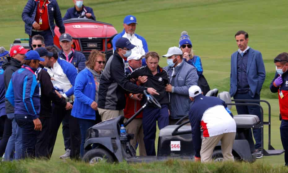 Tom Felton receives medical attention at Whistling Straits