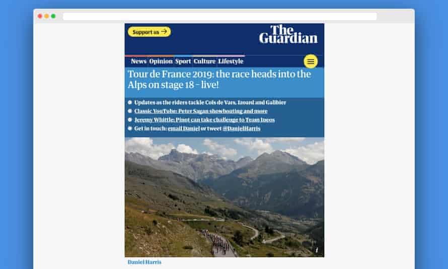 Wide screenshot of a Guardian AMP liveblog