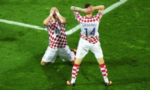 Domagoj Vida can't believe his shot went inches wide of the post and neither can his team-mate Marcelo Brozovic.