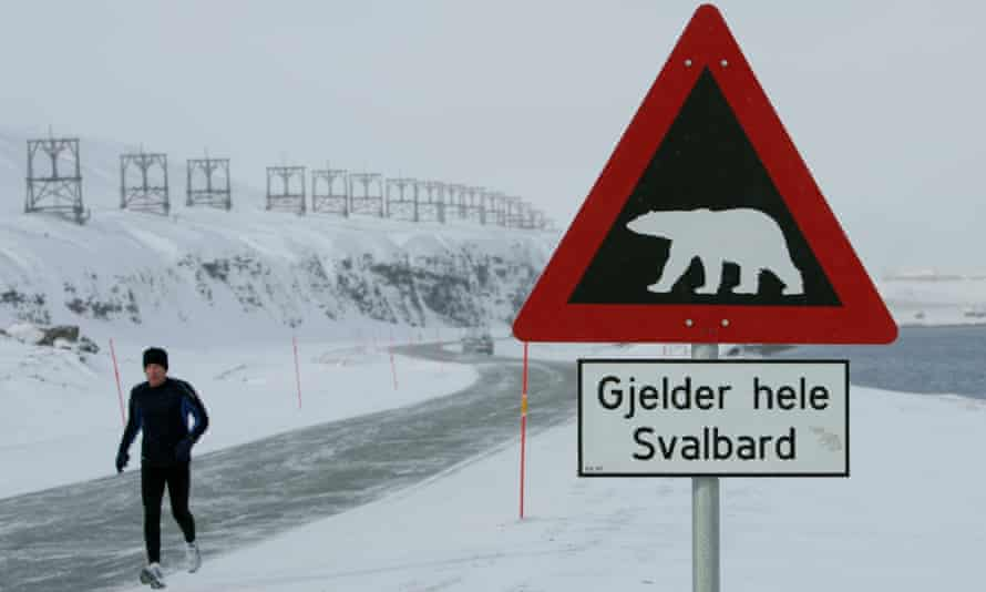 A sign warns of the dangers of polar bears on the Norwegian Arctic archipelago of Svalbard.